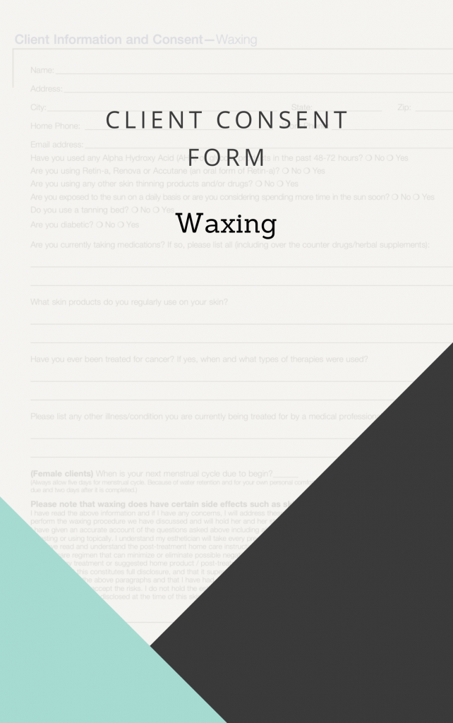 Client Consent Form for Waxing